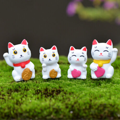 4pcs Cartoon Lucky Cats Micro Landscape Garden Decorations MiniaturesOrnamentsHG