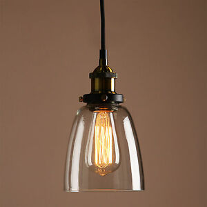 Retro Vintage Industrial Pendant Light Ceiling Lamp Glass Shade