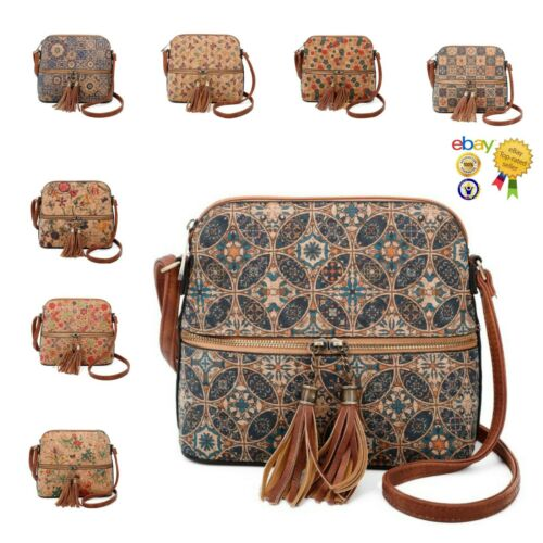 Natural Cork Faux Leather Printed Messenger Bag With Tassel Zip Detail On Front