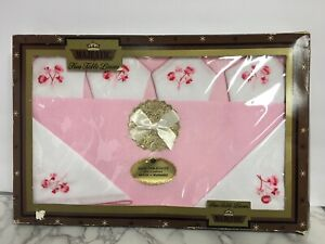 Vintage-Majestic-Creations-Tablecloth-6-Napkins-Boxed-Set-Pink-52-034-x-70-034-USA