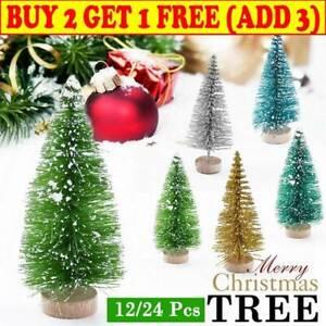 12//24x Mini Sisal Christmas Trees Ornament Snow Frost Small Pine Tree Decor 2020