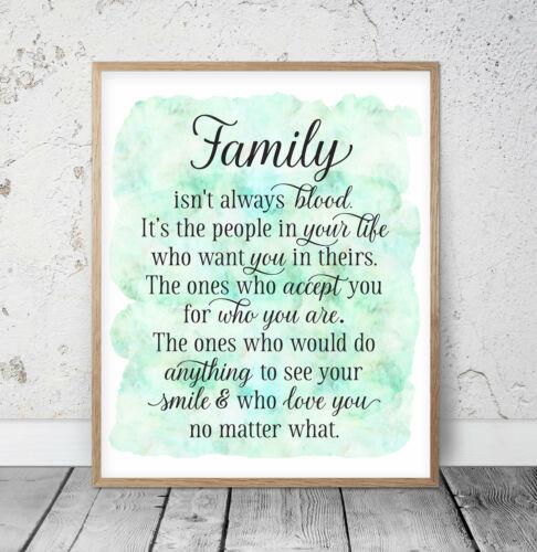 Friend Gift Nursery Print Room wall Art Family Isn/'t Always Blood Family Sign