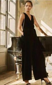JAEGER-Women-Luxury-Velvet-Black-Jumpsuit-Party-Dress-RRP-250-Size-uk-12-18