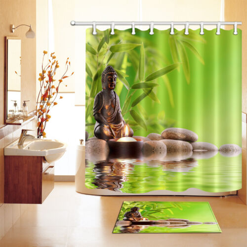 Shower Curtain Hooks Waterproof Fabric Bathroom Mat Buddha Zen Stone Bamboo Spa