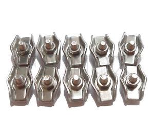 Serre cable PLAT Diamètre Fil 3 mm ( Lot de 10 ) inox 316 - A4