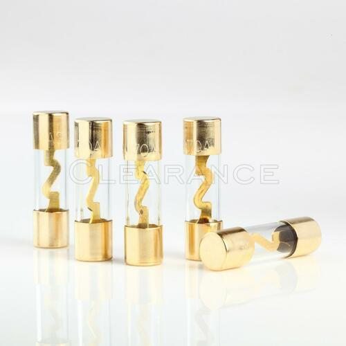 5pcs 70 AMP AGU GOLD PLATED FUSES ROUND GLASS FUSE SHIPS FREE