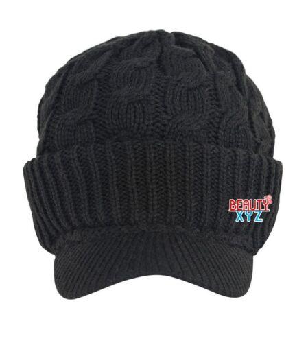 Unisex Chunky Cable Knit Visor Brim Winter Hat Beanie Thick Warm Men Women hat