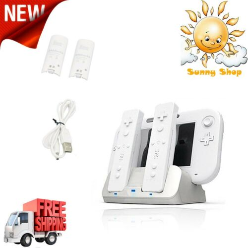 Charging Dock for WII U Remote Gamepad and Controller 2 Rechargeable Batteries
