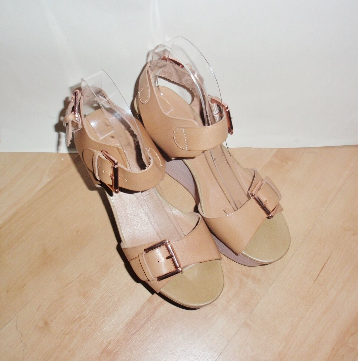 NEW Schuh ladies tan leather wedge heeled summer sandals - various sizes