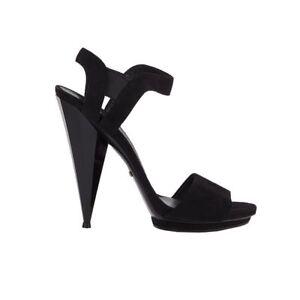 383974a49de 52474 auth GUCCI black suede leather PRISMA HEEL Sandals Shoes 40