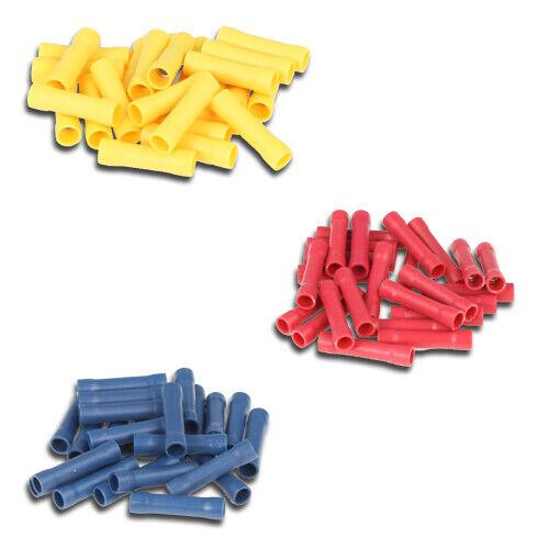 25xgelb Quetschverbinder SET: 75 Stossverbinder isoliert  25xblau 25xrot