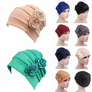 002ca7513c3 Women s Flower Beanie Head Scarves Headwear Muslim Turban Cap Chemo ...