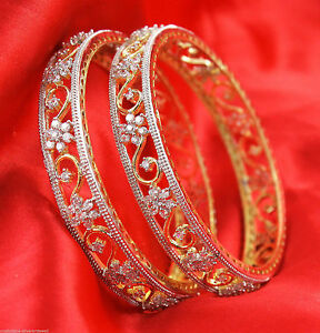 032 Indian Bollywood Partywear Traditional American Diamonte 2 Pc Bangle Jewelry