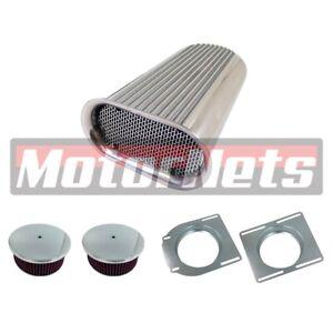 Hillborn-Dual-4-Barrel-Aluminum-Hood-Scoop-Washable-Air-Cleaner-Hot-Rod-Blower