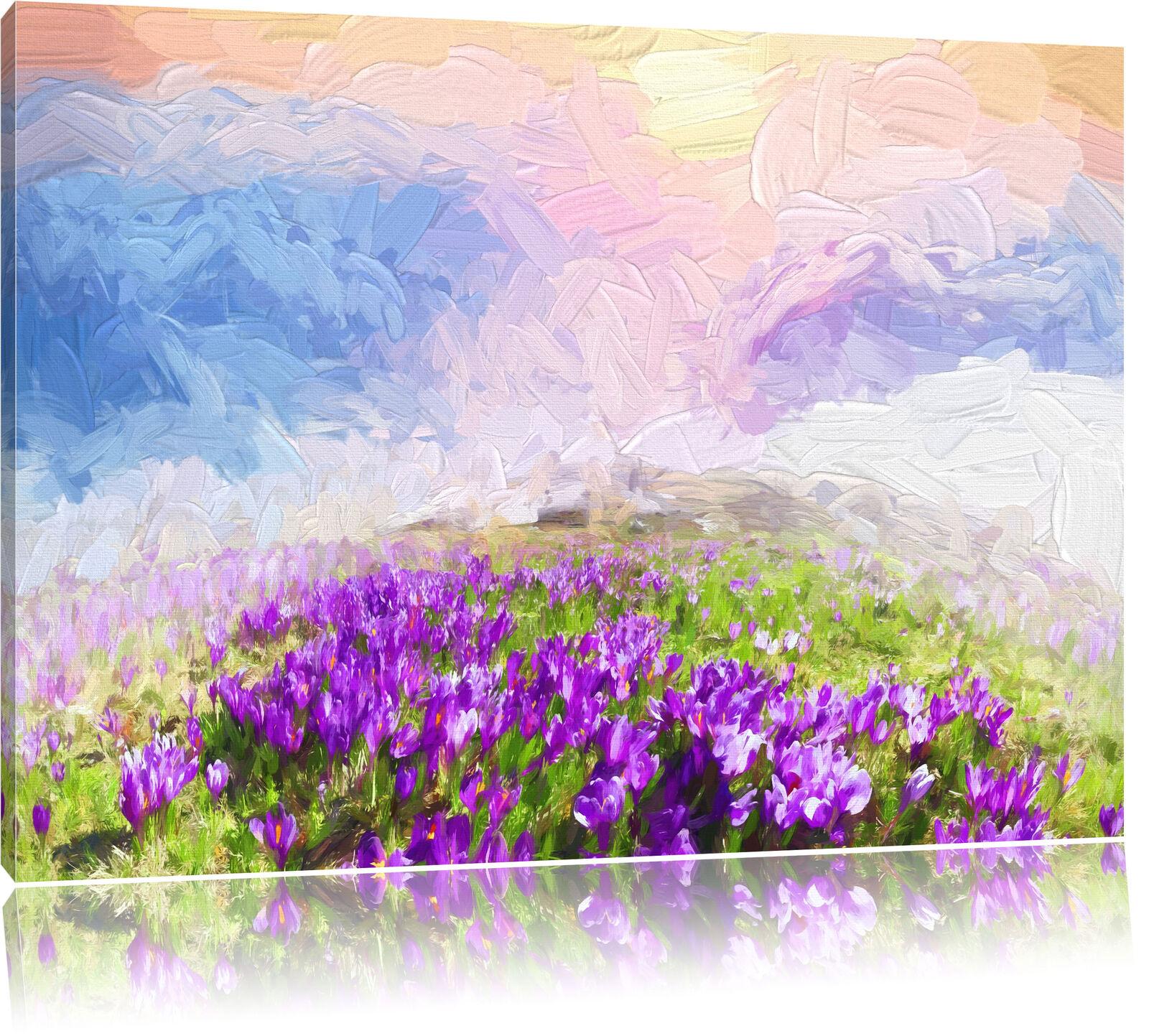 Blühende lilane Krokusse mit Aussicht auf die Berge Leinwandbild Wanddeko Kunstd