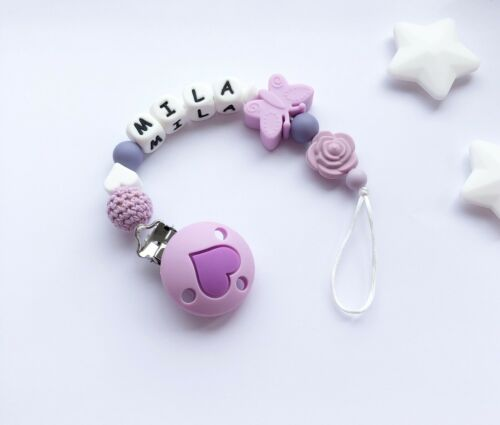 Pacifier Clip Personalised Dummy Clip Soother Clip Purple Silicone Clip