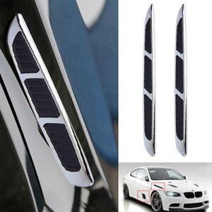 2x-3D-Car-Chrome-Grille-Shark-Gill-Simulation-Air-Flow-Vent-Fender-Sticker-1q