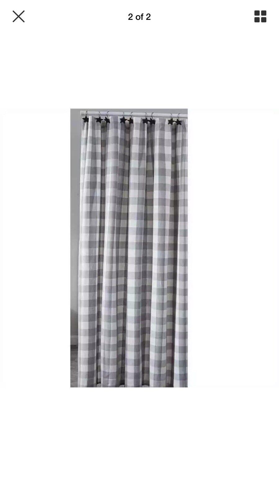Shower Curtain Dove Gray Off White Buffalo Check Fabric Wicklow Park Designs