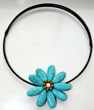 Chocker Handmade Reconstituted Turquoise Colour Flower Daisy Thailand