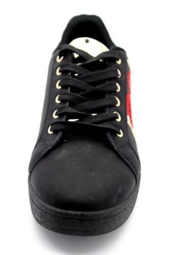 Womens UK 4 /& 5 Black /& Gold Sequin Embellished LOVE Lace Up Sneakers Trainers