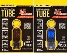 2x NITECORE TUBE USB Rechargeable LED Keychain Light 45 Lumen -  BLACK & BLUE