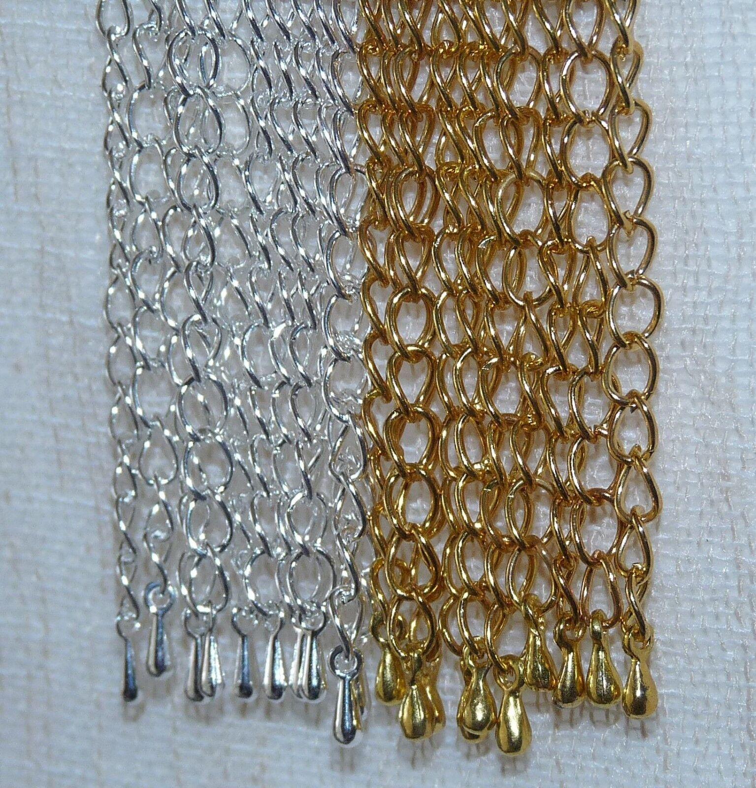 Extension Chain Silver Necklace Pendant Plated Extender Bracelet Connector DIY