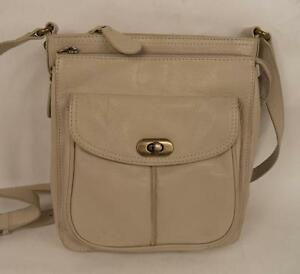 Image Is Loading Clarks Cream Leather Satchel Shoulder Bag Handbag