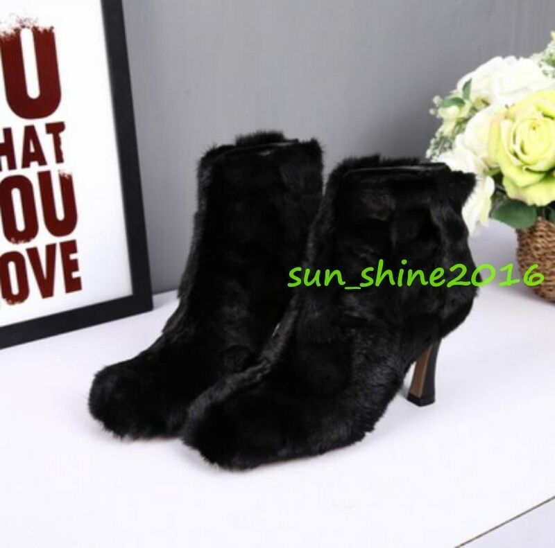 Donna Luxury Genuine Mink Fur Ankle Boots Back zip zip Back Kitten Heel Pumps SHoes size 083ad0
