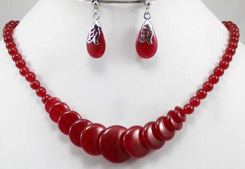hübsche rote jade halskette 17 zoll /& ohrring set