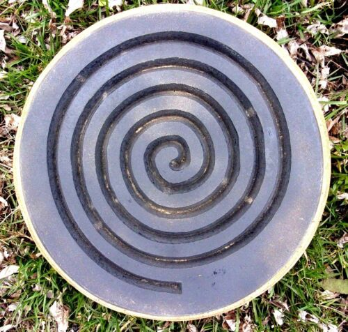 "Spiral meditation stepping stone mold plastic concrete plaster mould 13/"" x 2.5/"""