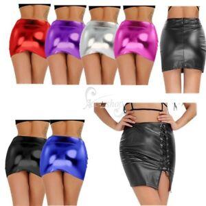 Ladies-Women-Lingerie-Shiny-Wet-Look-Metallic-Mini-Skirt-Sissy-Club-Wear-Costume