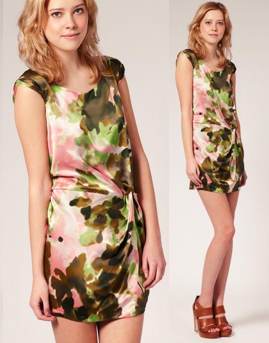 Cynthia Steffe Elizabeth WaterFarbe Silk Cap Sleeve Drape Style Dress