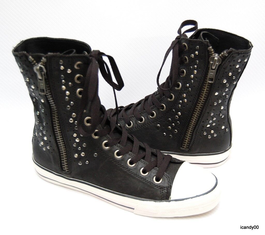 Juicy Couture ELLIE Tall Leather Studded Sneakers Lace-Up Boots Black/Silver New
