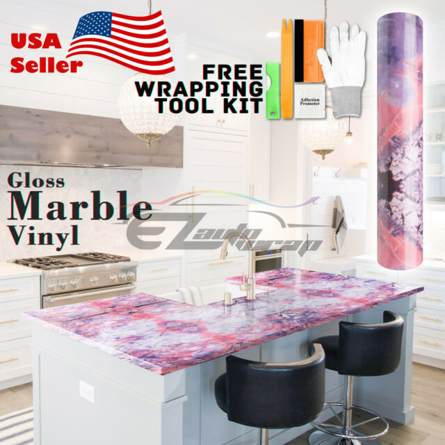 "4/""x8/"" Sample Gloss Marble Granite Look Vinyl Wrap Contact Paper Home Kitchen #05"
