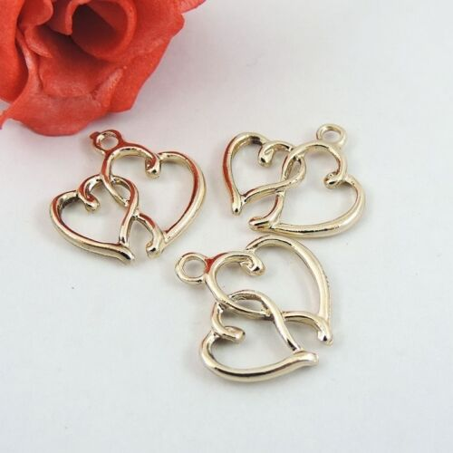 39240 30Pcs Gold Alloy Double Love Hearts Charms Pendant Jewelry 20*19*2mm