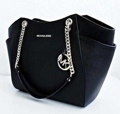 Original Michael Kors Bag Handbag Jet Set Travel Chain Saffiano Black New