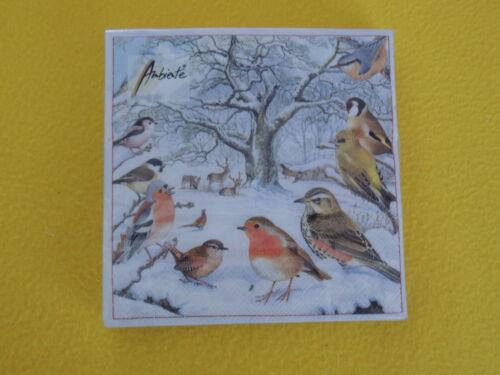 20 Napkins Birds Deer Winter 1 Pack Birds meeting Tree Snow Decor