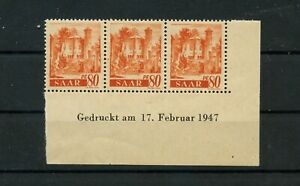 Germany-Saar-Saarland-vintage-yearset-1947-Mi-223-Z-Br-Mint-MNH