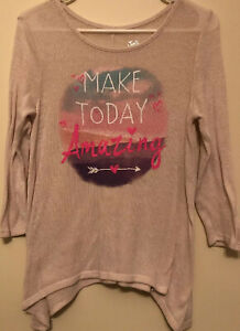 GIrl-s-Justice-Ivory-Shirt-Size-14-Make-Today-Amazing-Knit