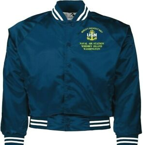 NAVAL AIR STATION WHIDBEY ISLAND WA NAVY EMBROIDERED 2-SIDED SATIN JACKET