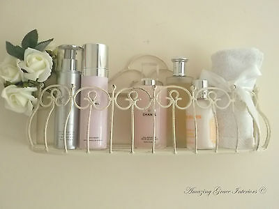 Vintage Shabby Chic French Cream Wall Shelf Unit Rack Cabinet Storage Display