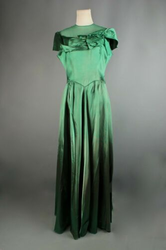 VTG 1940s Formal Green Satin Evening Ball Gown w G