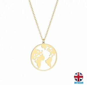 Uk gold plated planet earth travellers world map necklace ebay image is loading uk gold plated planet earth travellers world map gumiabroncs Gallery