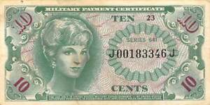 USA / MPC  10  Cents  ND. 1965  M58  Series  641  Plate 23  Circulated banknote