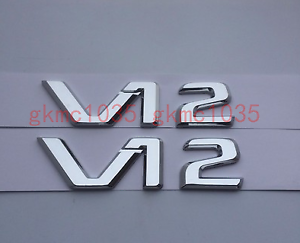 2 x MERCEDES BENZ V12 BADGE CL 65 600 AMG SL65 S600 SLK S600 S65 BITURBO CUSTOM