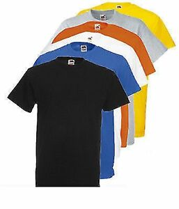 Fruit-Of-The-Loom-para-hombre-Heavy-valor-peso-de-algodon-T-Shirt-Pack-De-5
