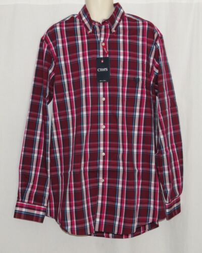 LARGE TALL Mens Dress Shirt NEW Long Sleeve CHAPS Ruby Plaid LT Big /& Tall NWT