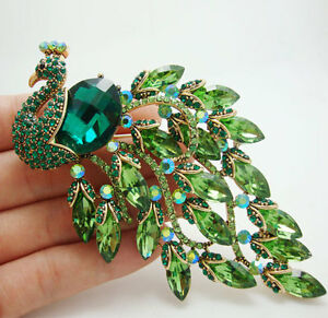 Gorgeous-Bird-Peacock-Green-Crystal-Rhinestone-Art-Nouveau-Gold-tone-Brooch