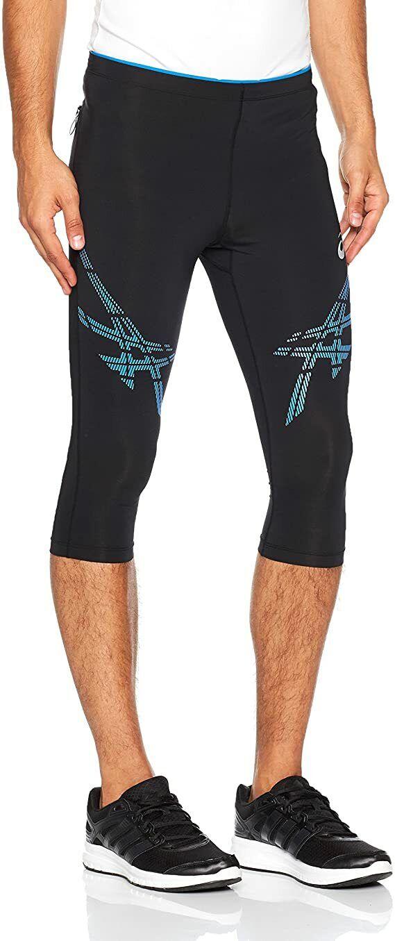 Asics Men's Knee Tight Stripe Sports Training Running Tights - Black/Blue New