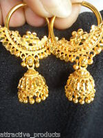 INDIAN BOLLYWOOD TRADITIONAL ETHNIC JHUMKA JHUMKI DANGLE GOLD PLATED EARRINGS